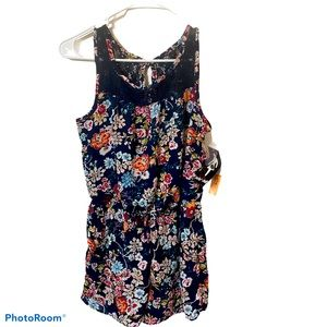Paper Doll Floral girls romper navy & coral NWT 12